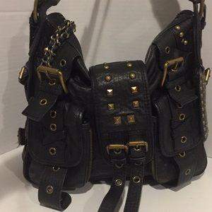 Betsey Johnson Black Leather Corset Bag